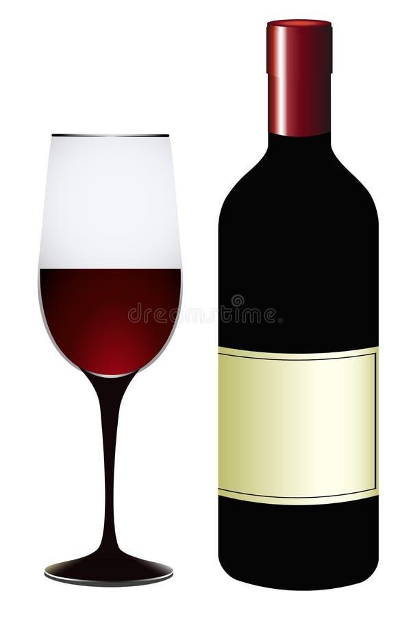 Φιάλη και ποτήρι κόκκινο κρασί διανυσματική απεικόνιση