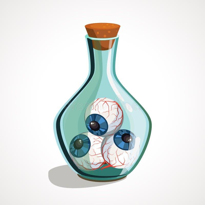 Φιάλη με κινούμενα σχέδια με μάτια στο εσωτερικό Συστατικά μαγισσών απεικόνιση αποθεμάτων