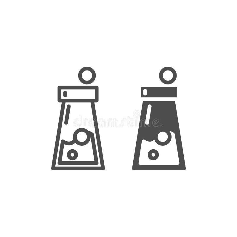 Φιάλη με τη γραμμή και glyph το εικονίδιο φίλτρων Ποτό τη διανυσματική απεικόνιση φυσαλίδων που απομονώνεται με στο λευκό Μπουκάλ απεικόνιση αποθεμάτων