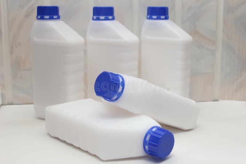 Φιάλη, περιέκτης, πλαστικό, λευκό 1 λίτρο στοκ εικόνες