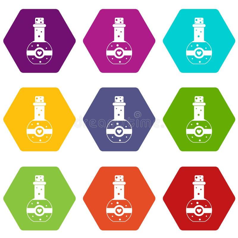 Φιάλη του καθορισμένου χρώματος εικονιδίων ελιξιρίου αγάπης hexahedron απεικόνιση αποθεμάτων