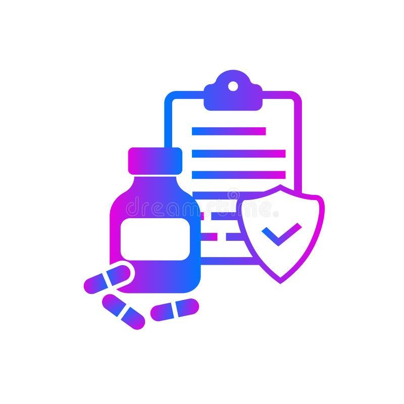 Φιαλίδιο και φάρμακα με το δίπλωμα ευρεσιτεχνίας απεικόνιση αποθεμάτων