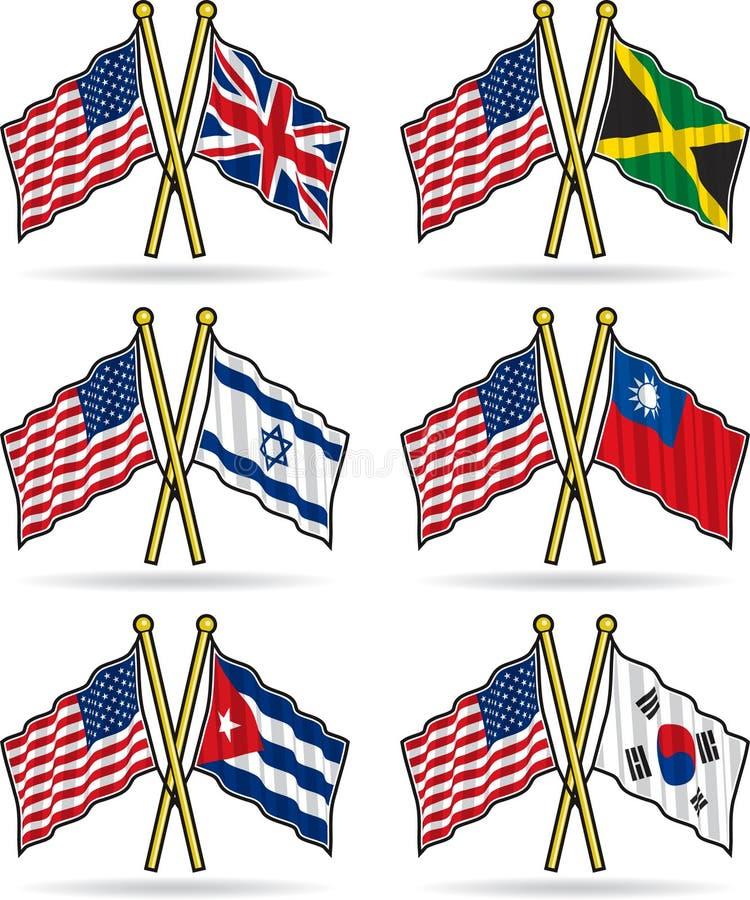 φιλία αμερικανικών σημαιών ελεύθερη απεικόνιση δικαιώματος