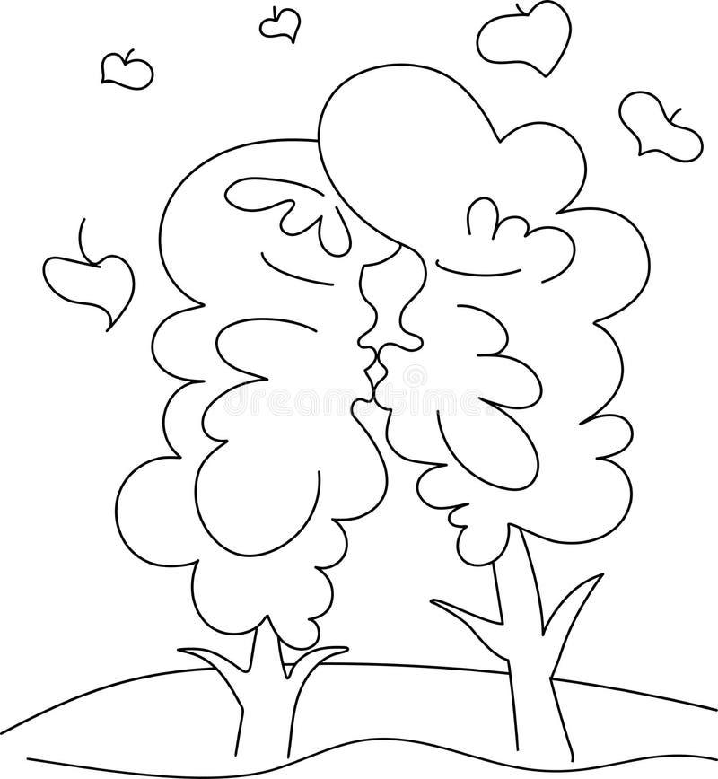 Φιλί δέντρων Μαύρη γραμμή εικόνων σε ένα άσπρο υπόβαθρο χιούμορ ελεύθερη απεικόνιση δικαιώματος