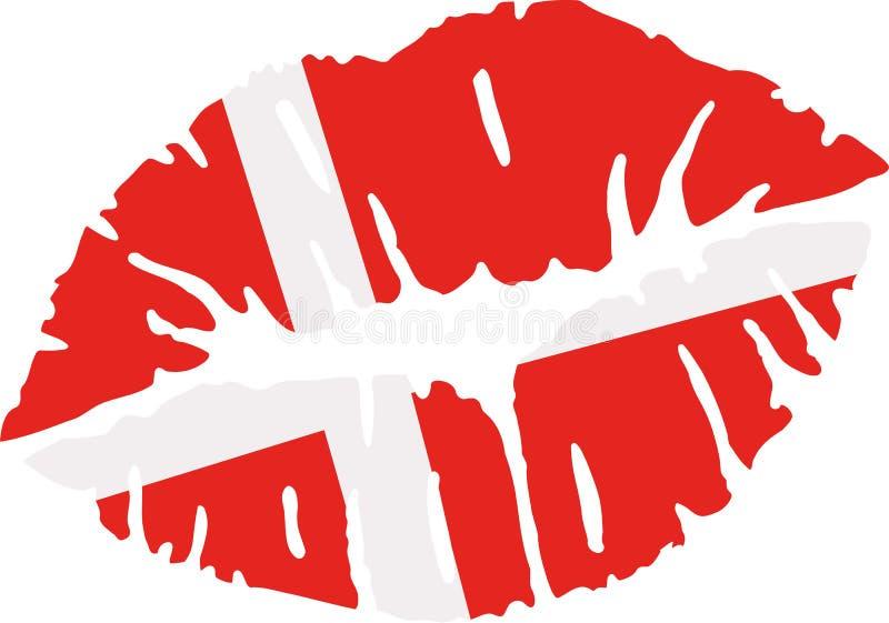 Φιλί σημαιών της Δανίας ελεύθερη απεικόνιση δικαιώματος