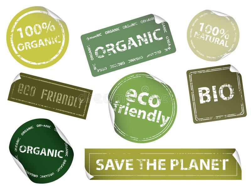 φιλικές ετικέτες eco διανυσματική απεικόνιση