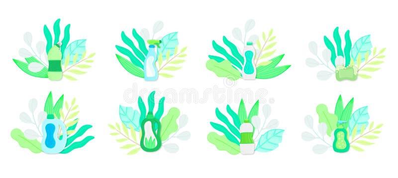 Φιλικές οικιακές καθαρίζοντας προμήθειες Eco στα φύλλα Φυσικά απορρυπαντικά Προϊόντα για την πλύση σπιτιών απεικόνιση αποθεμάτων