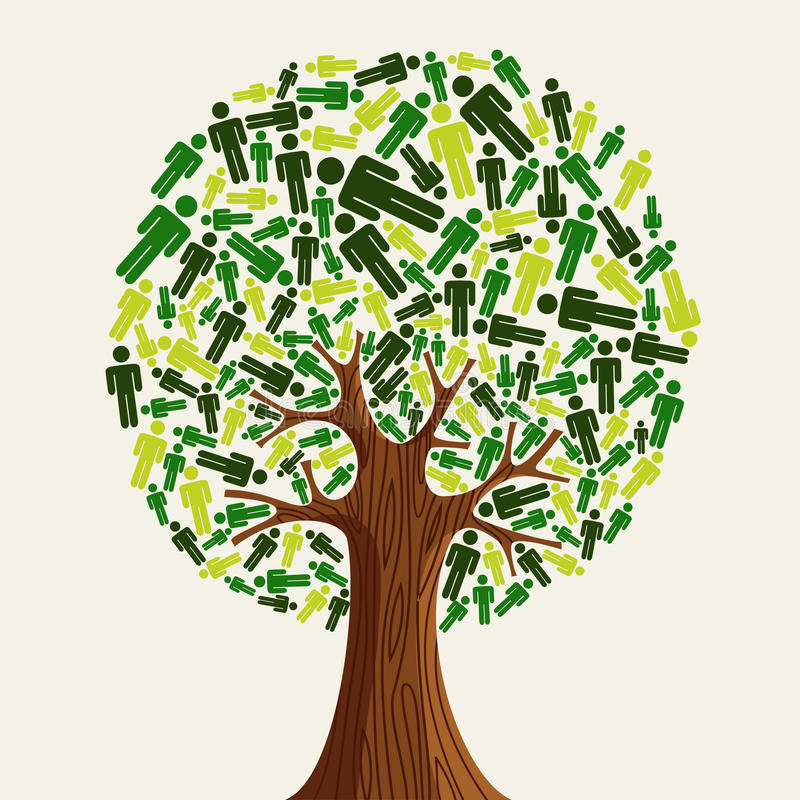 Φιλικοί άνθρωποι δέντρων Eco διανυσματική απεικόνιση