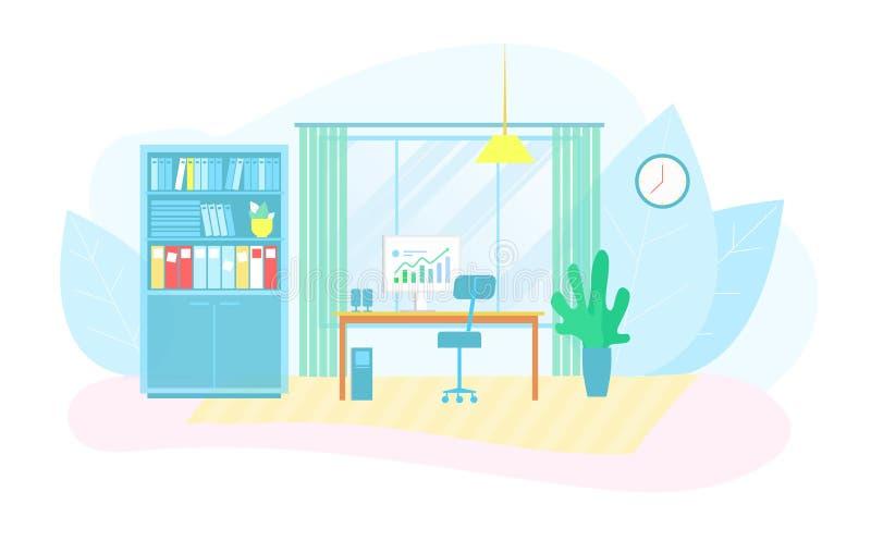 Φιλικός εργασιακός χώρος Eco στο έξυπνο εμπορικό κέντρο διανυσματική απεικόνιση