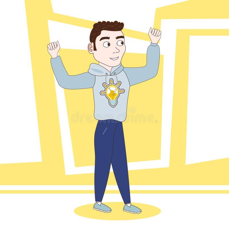 Φιλικός νεαρός άνδρας στα αυξημένα εκμετάλλευση χέρια χαρακτήρα κινουμένων σχεδίων περιστασιακών ενδυμάτων ελεύθερη απεικόνιση δικαιώματος