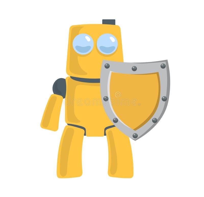 Φιλικό κίτρινο ρομπότ με την ασπίδα Προστάτης ρομπότ Χαρακτήρας παιχνιδιών Επίπεδη διανυσματική απεικόνιση Απομονωμένος στο λευκό ελεύθερη απεικόνιση δικαιώματος