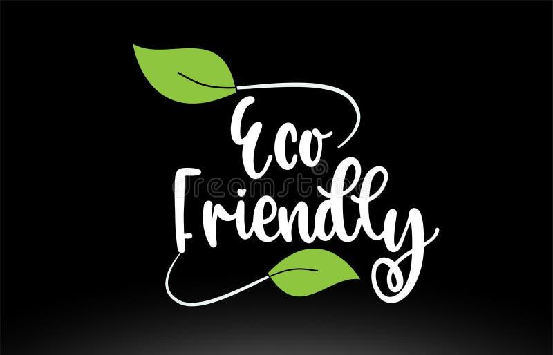 Φιλικό κείμενο λέξης Eco με το πράσινο σχέδιο εικονιδίων λογότυπων φύλλων διανυσματική απεικόνιση
