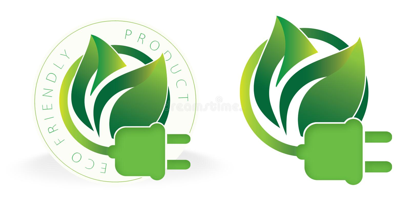 Φιλικό λογότυπο ηλεκτρικής ενέργειας Eco ηλιακό ελεύθερη απεικόνιση δικαιώματος