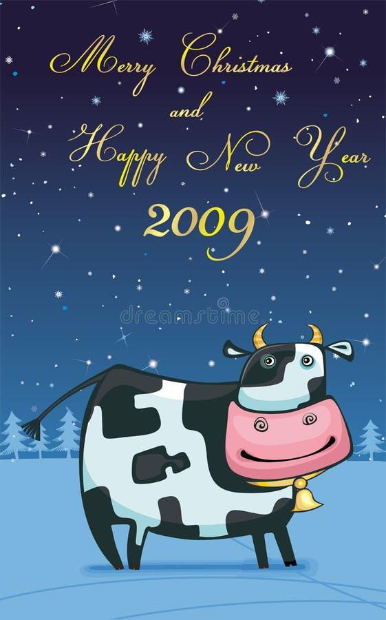 φιλικό νέο διανυσματικό έτος αγελάδων απεικόνιση αποθεμάτων