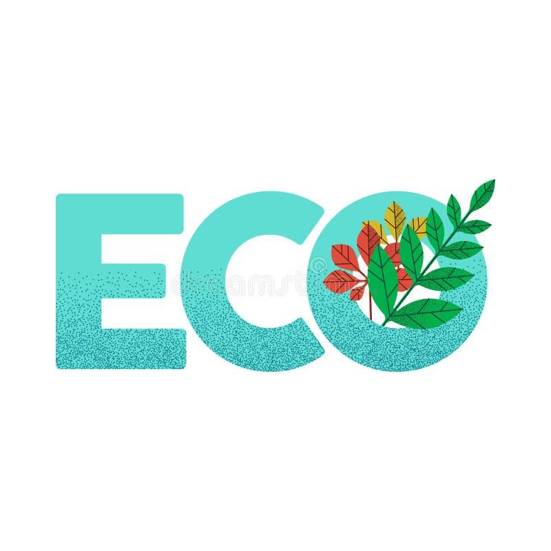 Φιλικό πράσινο απόσπασμα βοήθειας Eco με τα φύλλα φυτών ελεύθερη απεικόνιση δικαιώματος