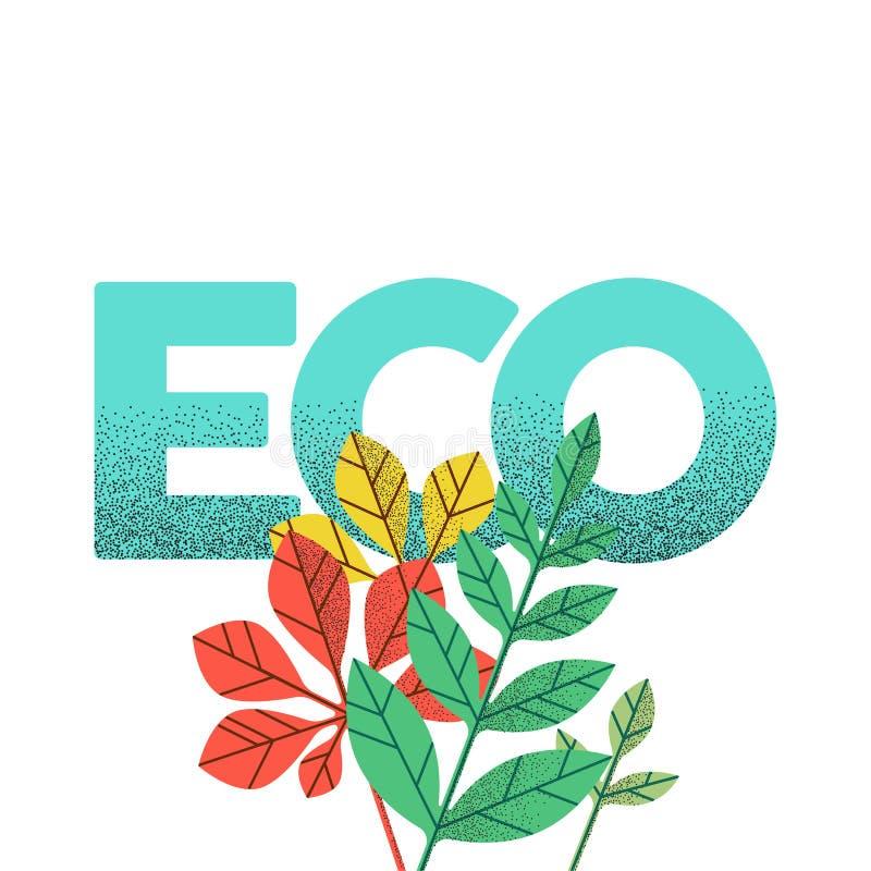 Φιλικό πράσινο απόσπασμα Eco με τα εποχιακά φύλλα διανυσματική απεικόνιση