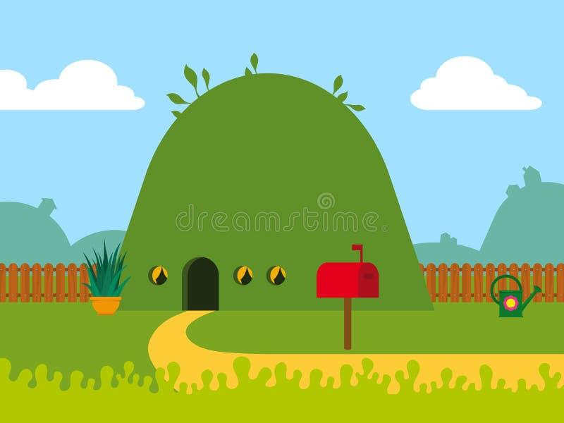 Φιλικό προς το περιβάλλον σπίτι λόφων κινούμενων σχεδίων ελεύθερη απεικόνιση δικαιώματος