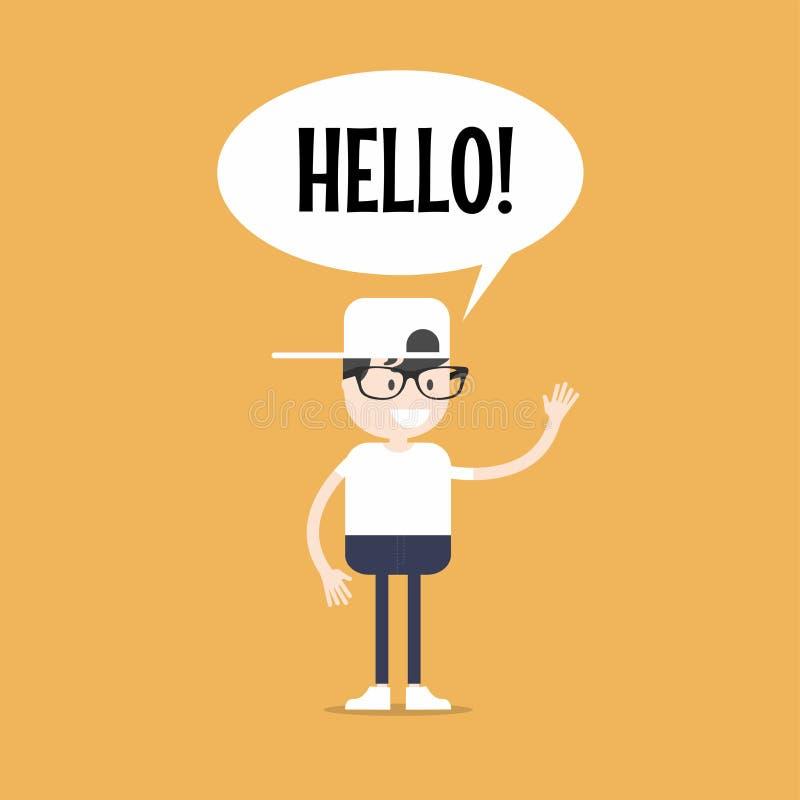 Φιλικό nerd που λέει ` γειά σου ` και που κυματίζει το χέρι απεικόνιση αποθεμάτων