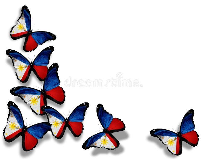 Φιλιππινέζικες πεταλούδες σημαιών, που απομονώνονται στο λευκό ελεύθερη απεικόνιση δικαιώματος
