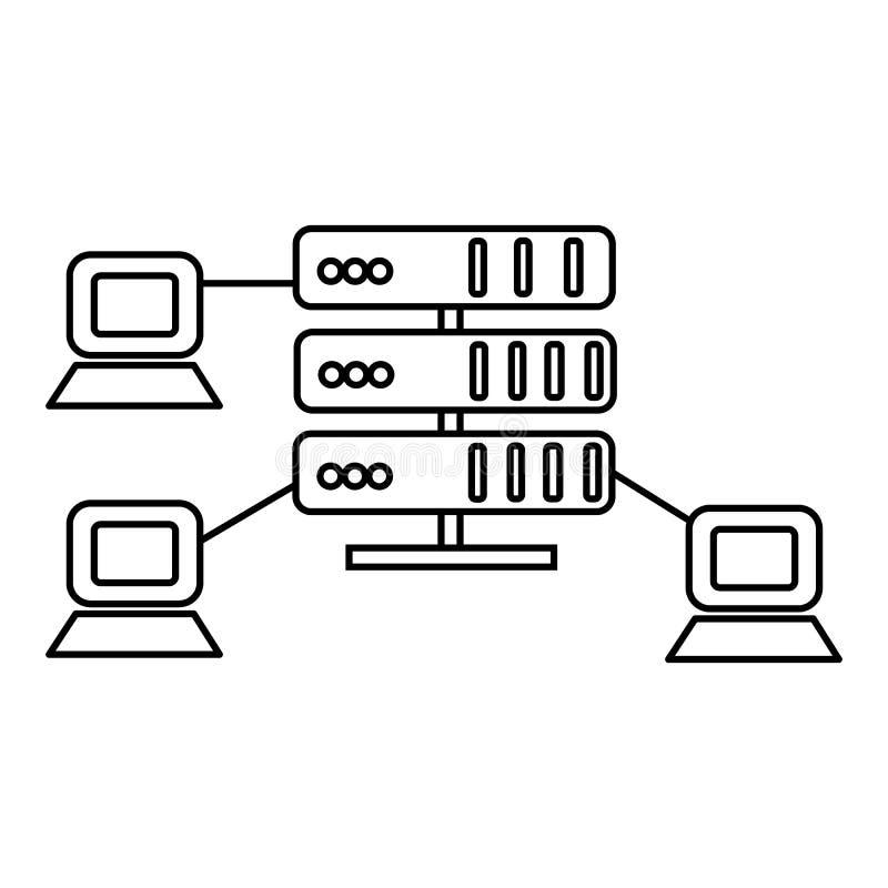 Φιλοξενία, διανυσματικό εικονίδιο γραμμών κεντρικών υπολογιστών δικτύων, σημάδι, απεικόνιση στο υπόβαθρο, editable κτυπήματα διανυσματική απεικόνιση
