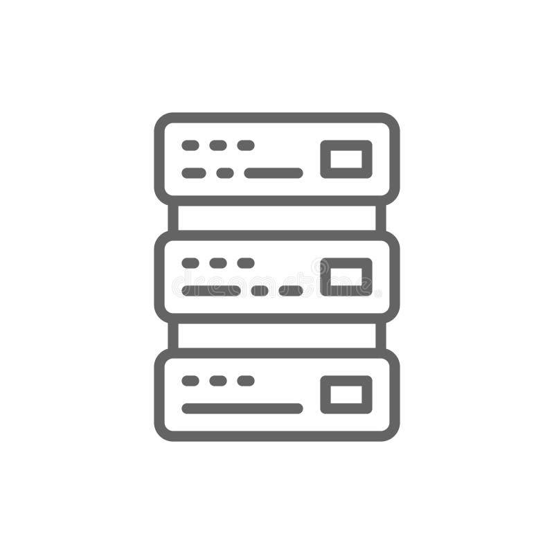 Φιλοξενία δικτύων, κεντρικός υπολογιστής και εικονίδιο γραμμών τεχνολογίας απεικόνιση αποθεμάτων