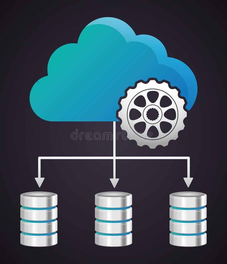 Φιλοξενία Ιστού κέντρων δεδομένων σύννεφων εργαλείων σαν διανυσματικά κύματα στροβίλου ανασκόπησης διακοσμητικά γραφικά τυποποιημ απεικόνιση αποθεμάτων