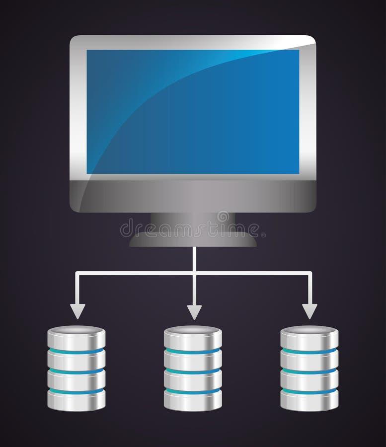 Φιλοξενία Ιστού κέντρων δεδομένων υπολογιστών σαν διανυσματικά κύματα στροβίλου ανασκόπησης διακοσμητικά γραφικά τυποποιημένα διανυσματική απεικόνιση