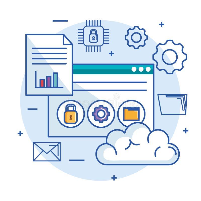 Φιλοξενία Ιστού κεντρικών υπολογιστών αποθήκευσης στοιχείων υπολογισμού σύννεφων και ασφάλεια τεχνολογίας διανυσματική απεικόνιση