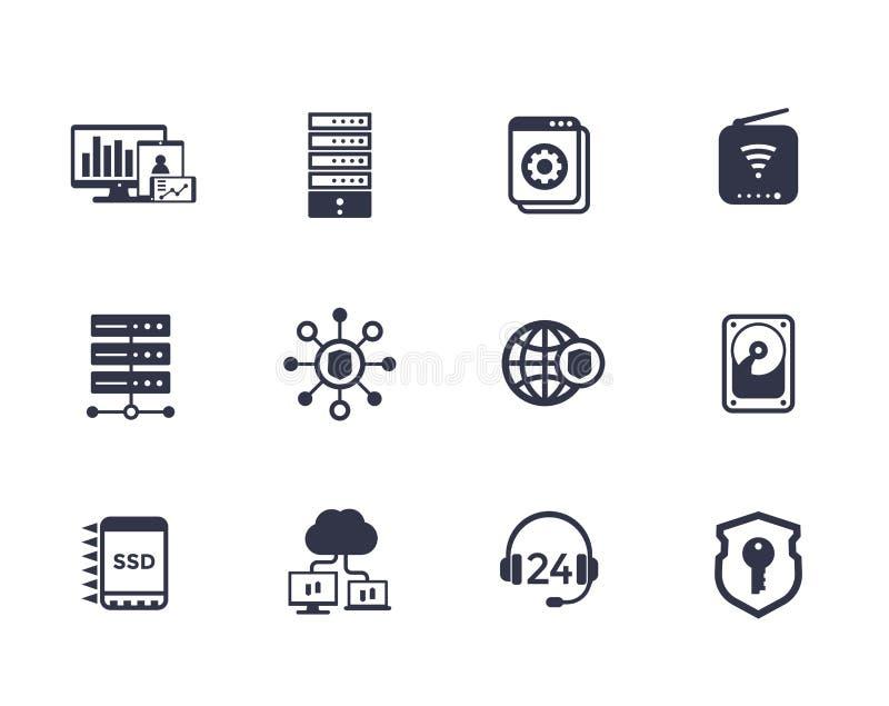 Φιλοξενία, κεντρικοί υπολογιστές, δίκτυο, εικονίδια αποθήκευσης στοιχείων ελεύθερη απεικόνιση δικαιώματος
