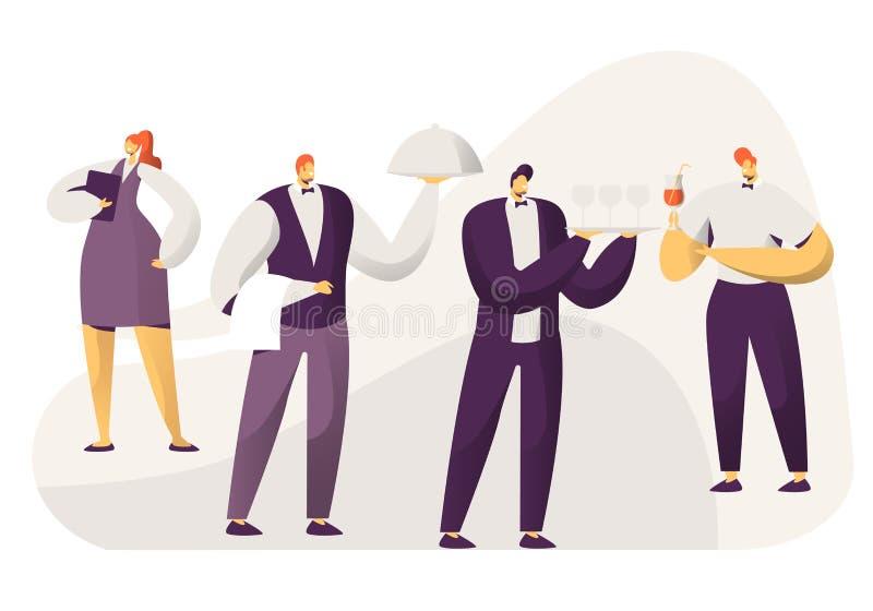 Φιλοξενία, χαρακτήρες προσωπικού εστιατορίων σε ομοιόμορφο Γυναίκα διοικητών με το σημειωματάριο, μπάρμαν με τα ποτά, σερβιτόροι  απεικόνιση αποθεμάτων