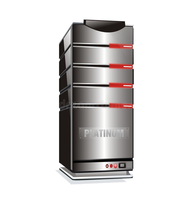 φιλοξενώντας πύργος κεντρικών υπολογιστών λευκόχρυσου διανυσματική απεικόνιση