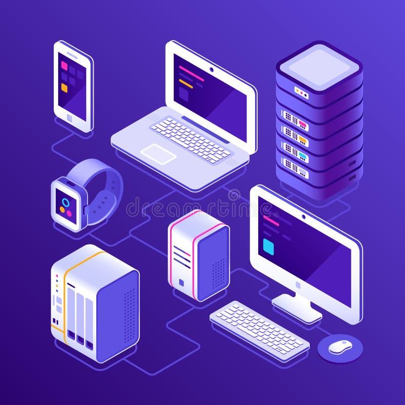 Φιλοξενώντας στοιχεία κεντρικός υπολογιστής, PC, φορητός προσωπικός υπολογιστής, έξυπνο ρολόι, NAS, smartphone ή κινητό τηλέφωνο  διανυσματική απεικόνιση