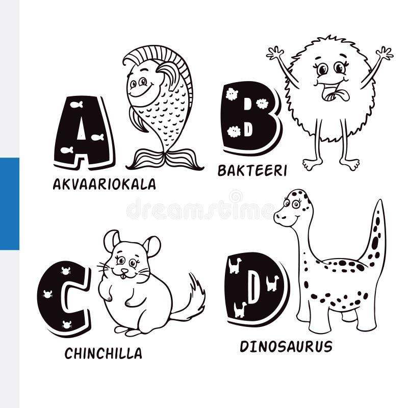 Φινλανδικό αλφάβητο Ψάρια ενυδρείων, βακτηρίδια, τσιντσιλά, δεινόσαυρος Διανυσματικοί γράμματα και χαρακτήρες διανυσματική απεικόνιση