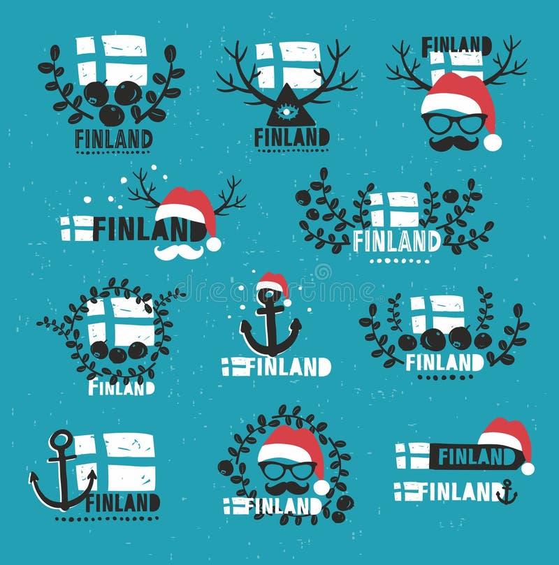 Φινλανδία ετικέτες που τίθενται δ&iot απεικόνιση αποθεμάτων