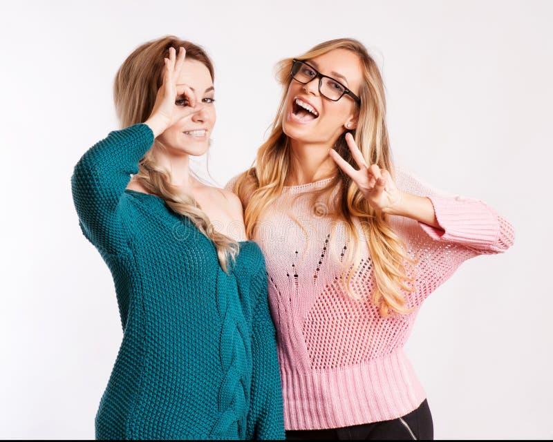 Φιλία και ευτυχής έννοια ανθρώπων - δύο χαμογελώντας κορίτσια στοκ εικόνες