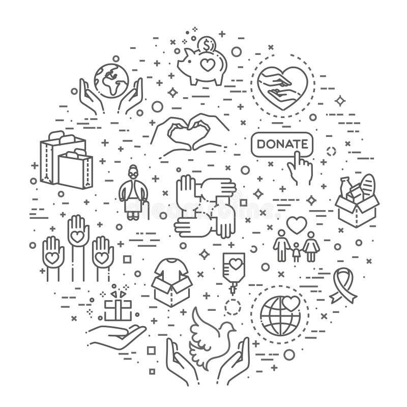 Φιλανθρωπία - σύγχρονα διανυσματικά εικονίδια και εικονογράμματα σχεδίου γραμμών καθορισμένα ελεύθερη απεικόνιση δικαιώματος