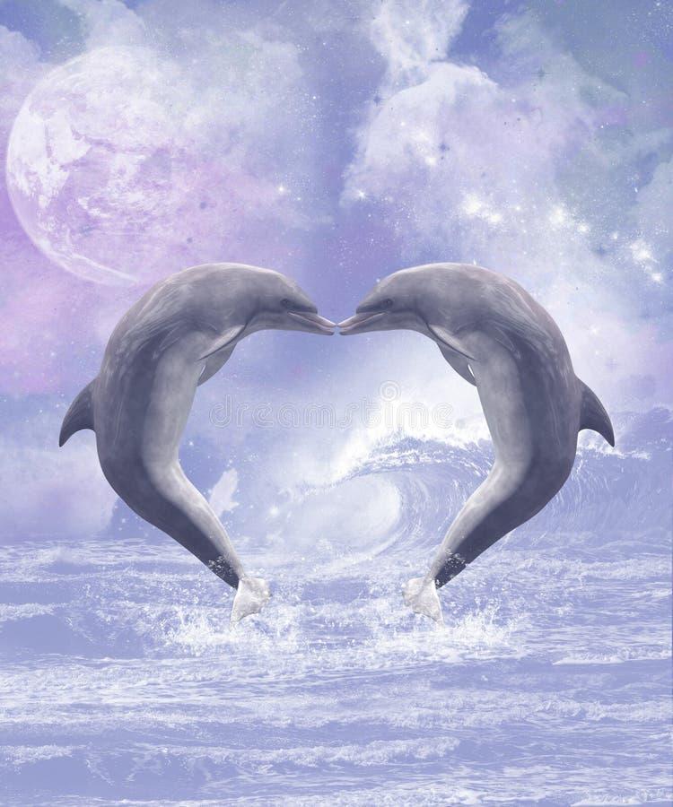 Φιλιά δελφινιών διανυσματική απεικόνιση
