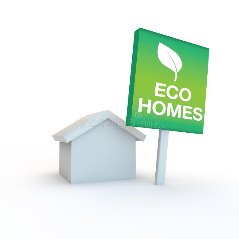 Φιλικά βιώσιμα κατοικία και σπίτια Eco διανυσματική απεικόνιση