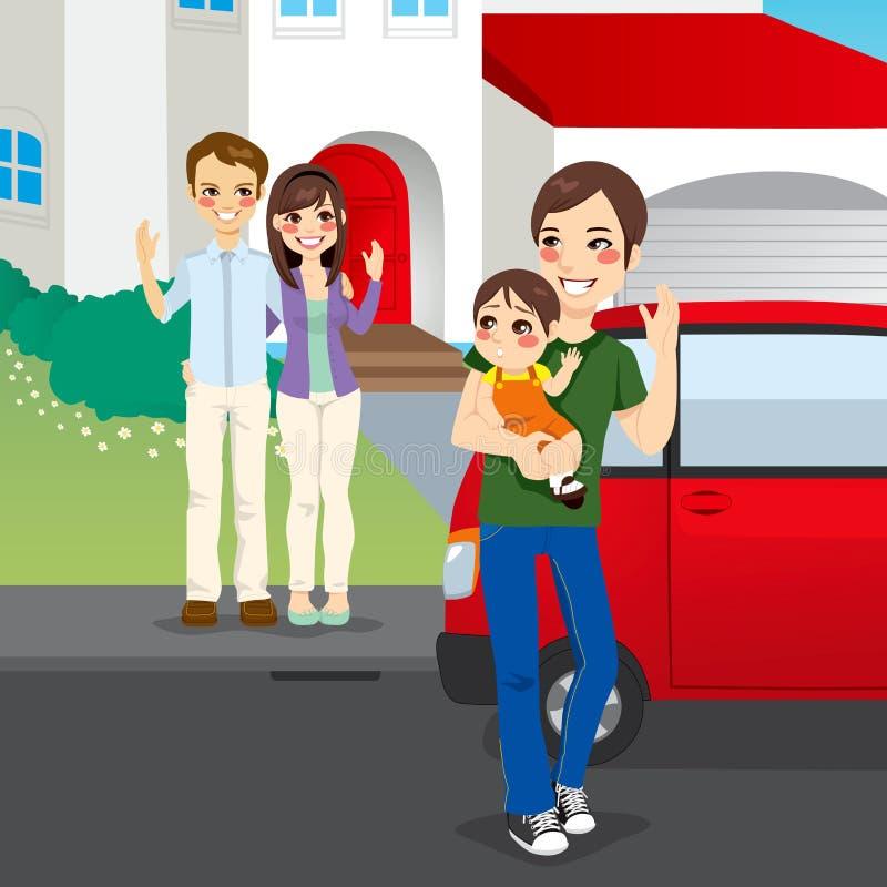 Φιλικά διαζευγμένη οικογένεια διανυσματική απεικόνιση
