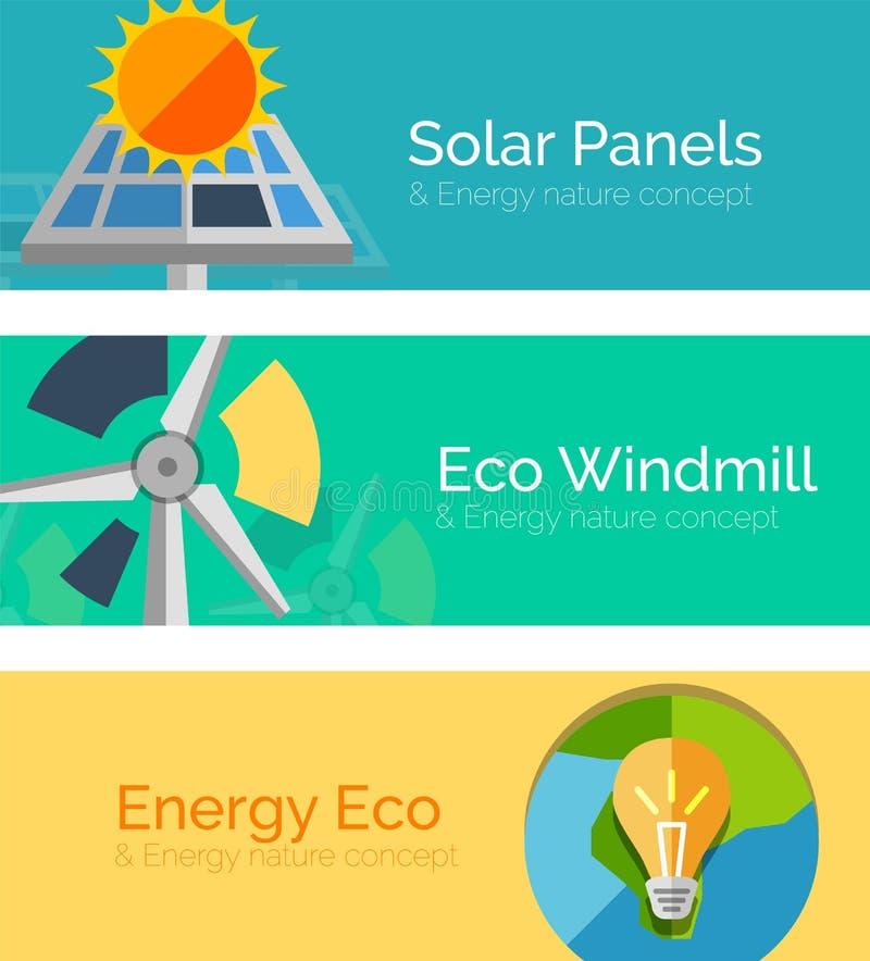 Φιλικές προς το περιβάλλον έννοιες ενεργειακού επίπεδες σχεδίου, εμβλήματα απεικόνιση αποθεμάτων