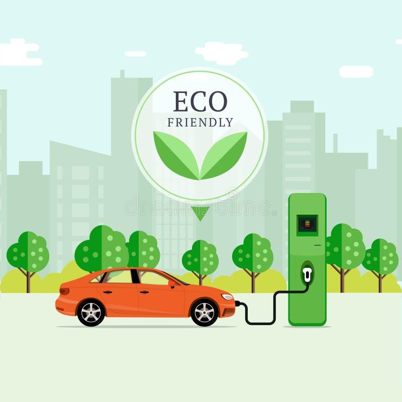 Φιλική έννοια καυσίμων Eco αυτοκίνητο που χρεώνει τον ηλεκτρικό σταθμό EV REC ελεύθερη απεικόνιση δικαιώματος