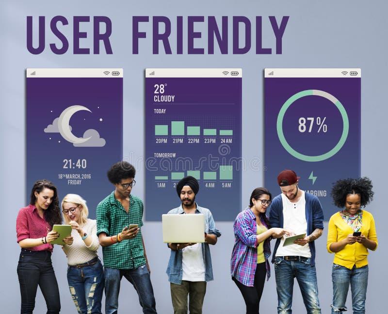 Φιλική προς το χρήστη κινητή έννοια Apps διεπαφών στοκ εικόνα