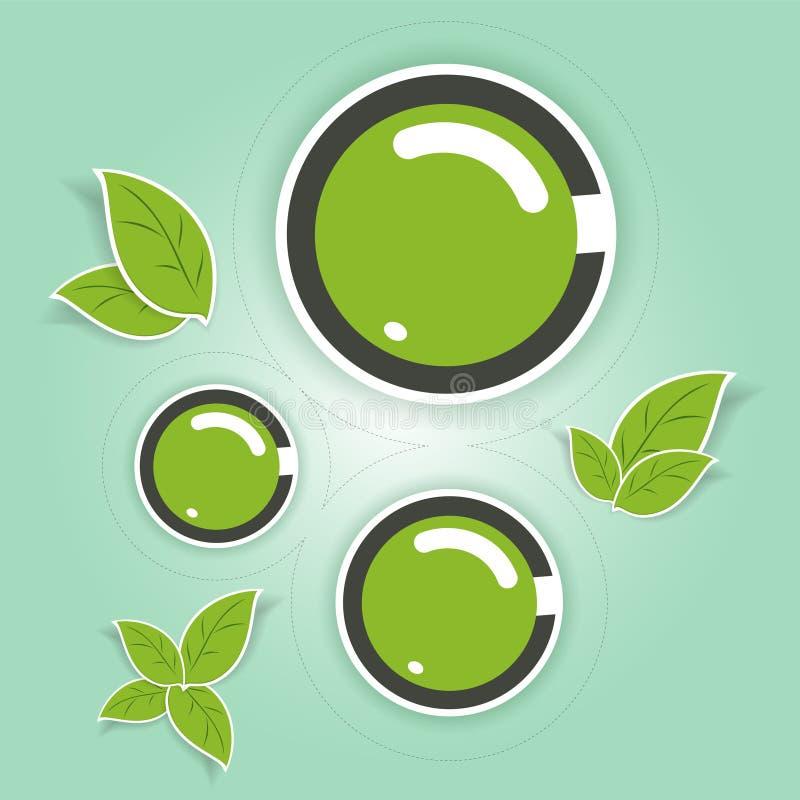 Φιλικοί προς το περιβάλλον πράσινοι κύκλοι διανυσματική απεικόνιση