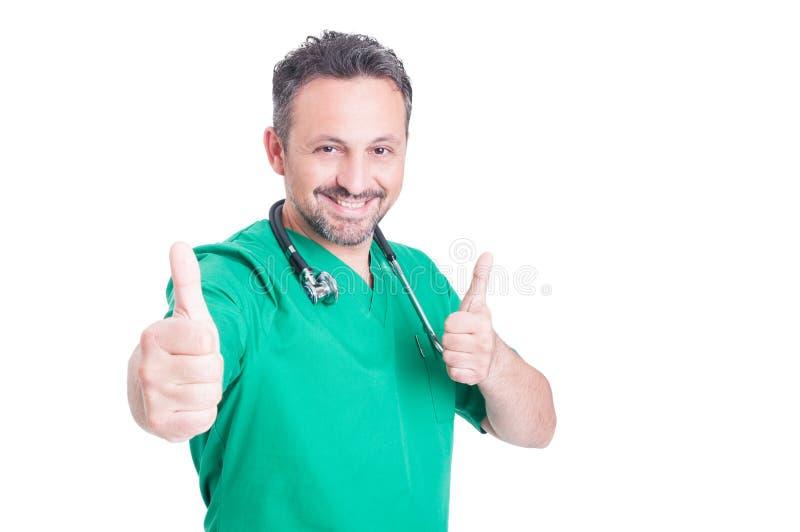 Φιλικός ιατρός που παρουσιάζει διπλάσιο όπως το σημάδι στοκ εικόνα με δικαίωμα ελεύθερης χρήσης