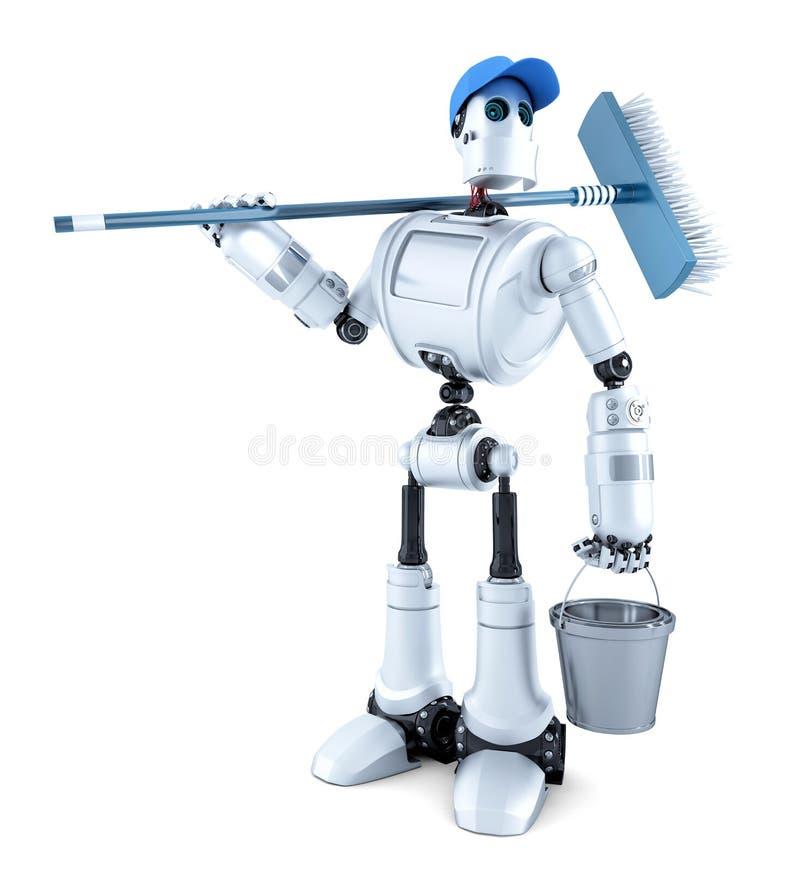 Φιλικός καθαριστής ρομπότ απομονωμένος Περιέχει το μονοπάτι ψαλιδίσματος απεικόνιση αποθεμάτων