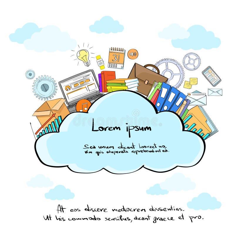 Φιλοξενία εφαρμογής Διαδικτύου αποθήκευσης λογότυπων σύννεφων απεικόνιση αποθεμάτων