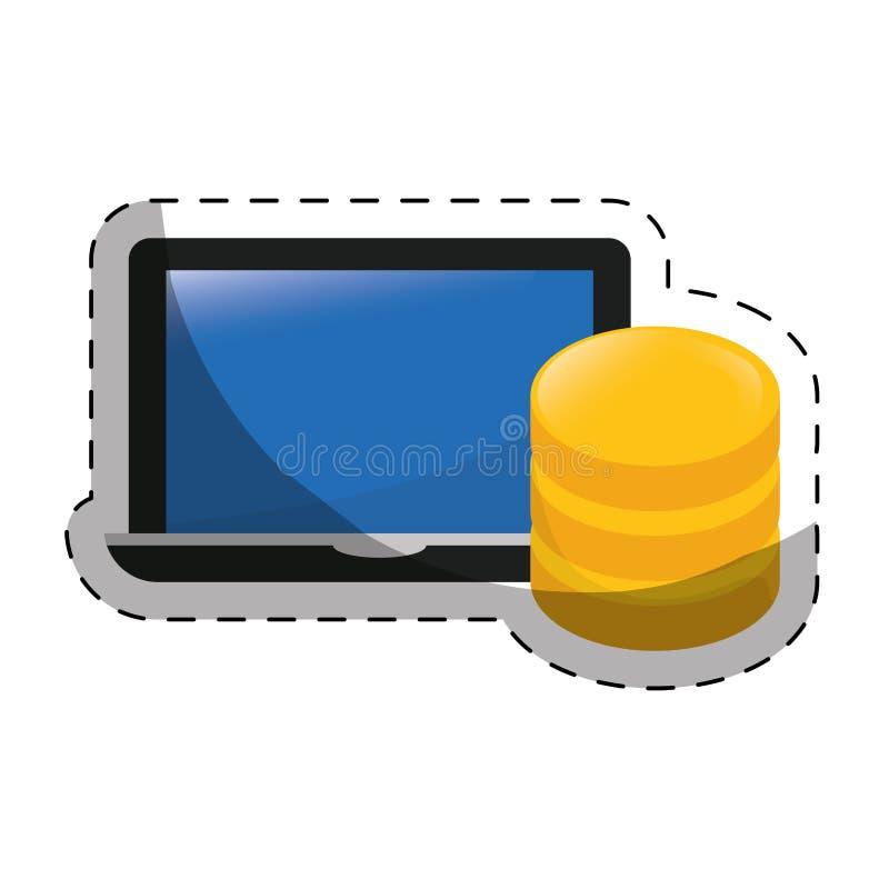 φιλοξενία Ιστού ή σχετική με το κέντρο δεδομένων εικόνα εικονιδίων διανυσματική απεικόνιση