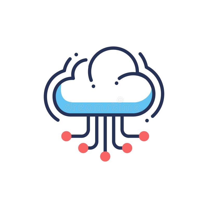Φιλοξενία σύννεφων ιστοχώρου - σύγχρονο διανυσματικό εικονίδιο γραμμών απεικόνιση αποθεμάτων