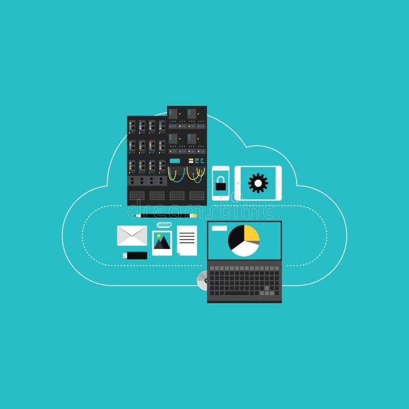 Φιλοξενία υπολογισμού σύννεφων για τη ανάπτυξη επιχείρησης διανυσματική απεικόνιση