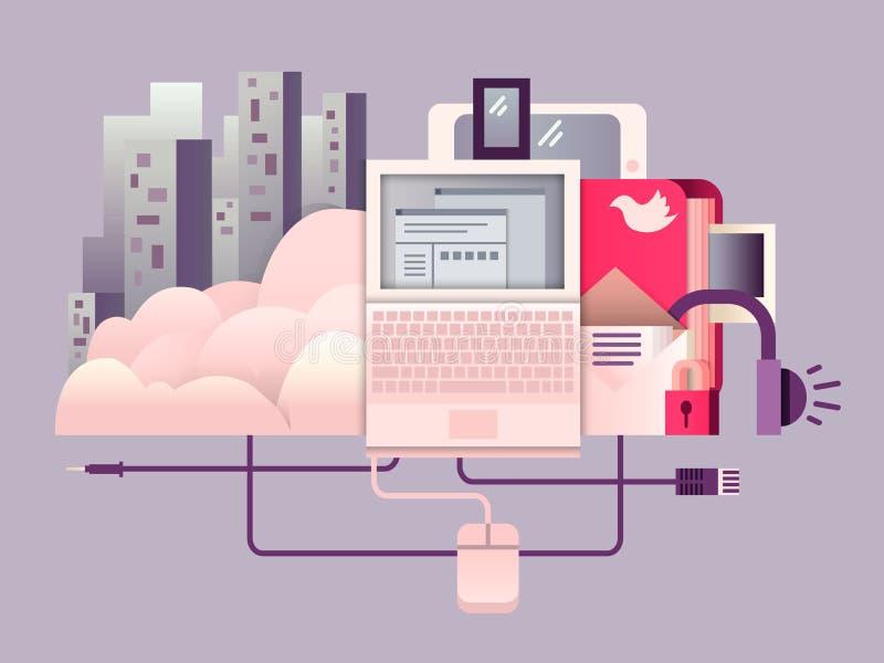 Φιλοξενώντας επίπεδο σχεδίου σύννεφων ελεύθερη απεικόνιση δικαιώματος